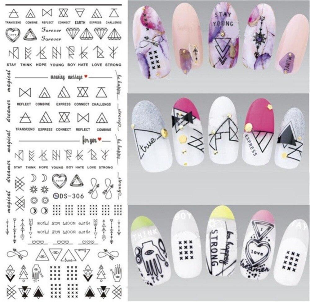 1 hoja de pegatinas de agua para uñas línea de arte transferencia calcomanías triángulo de Arte de uñas sello de agua
