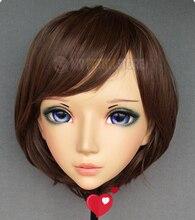 (Er-01) vestido cruzado de resina de media cabeza Kigurumi BJD Eyes Cosplay Anime japonés máscara de Lolita con orejas de hada