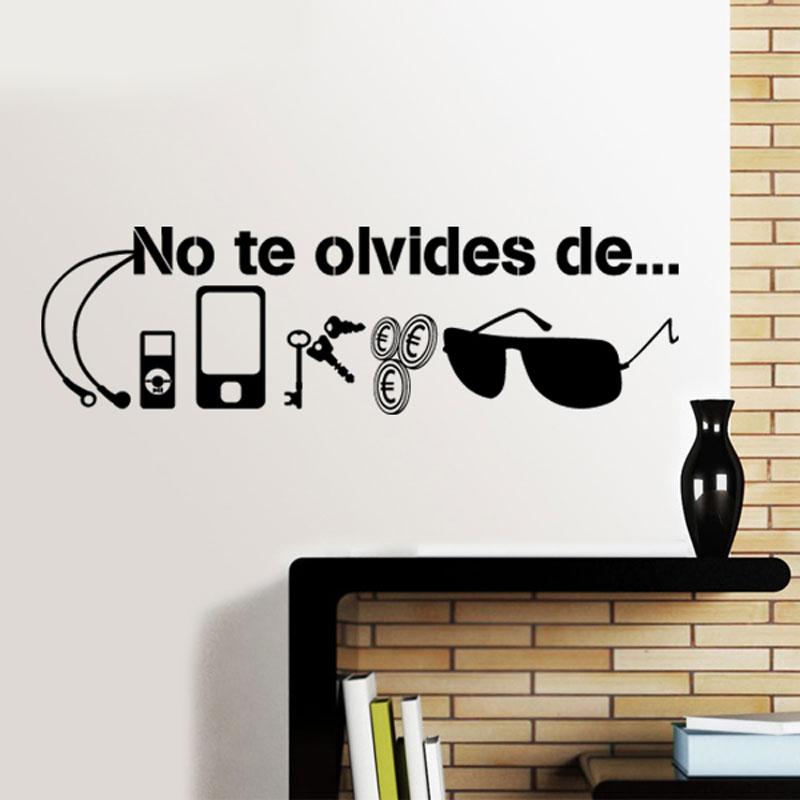 Испанская наклейка-цитата на стену наклейки Muraux No Te Oublier De... Ключ наличные телефон солнцезащитные очки предметы первой необходимости перед ...