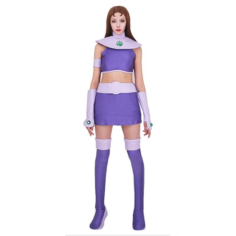 Nova starfire cosplay traje jovem justiça super-herói senhora elastano terno halloween para mulher/menina