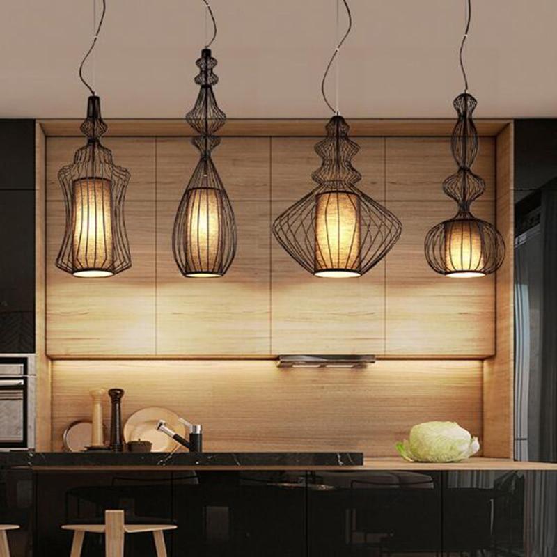 خمر الحديد المطاوع قلادة أضواء E27 الأسود الرجعية لوفت النمط الأمريكي المطبخ مصباح غرفة الطعام بار القهوة تركيبات الإنارة