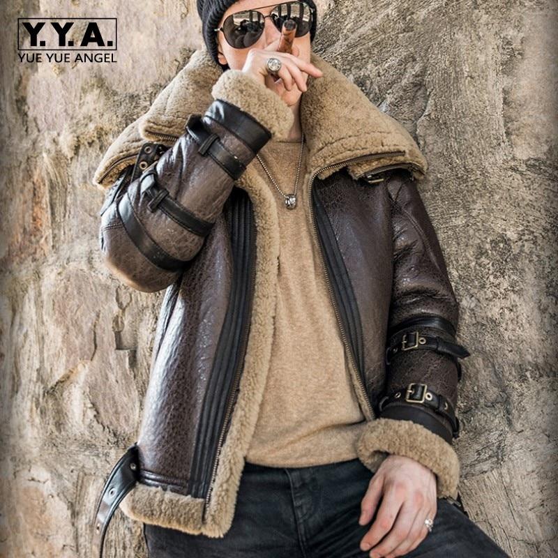 Italy Luxury Men Winter Shearling Real Fur Jacket 6XL Biker Sheepskin Genuine Leather Coat Thick Warm Fur Lining Military Jacket