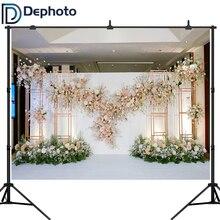 Dephoto Weiß Rosa Floral Foto Hintergründe 3D Blume Hochzeit Braut Dusche Fotografie Kulissen Dekoration Photo Booth Banner
