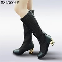 plus size 34 46 women spring summer bud silk zip knee high boots hollow cut outs crystal thick heel high heels round toe shoes