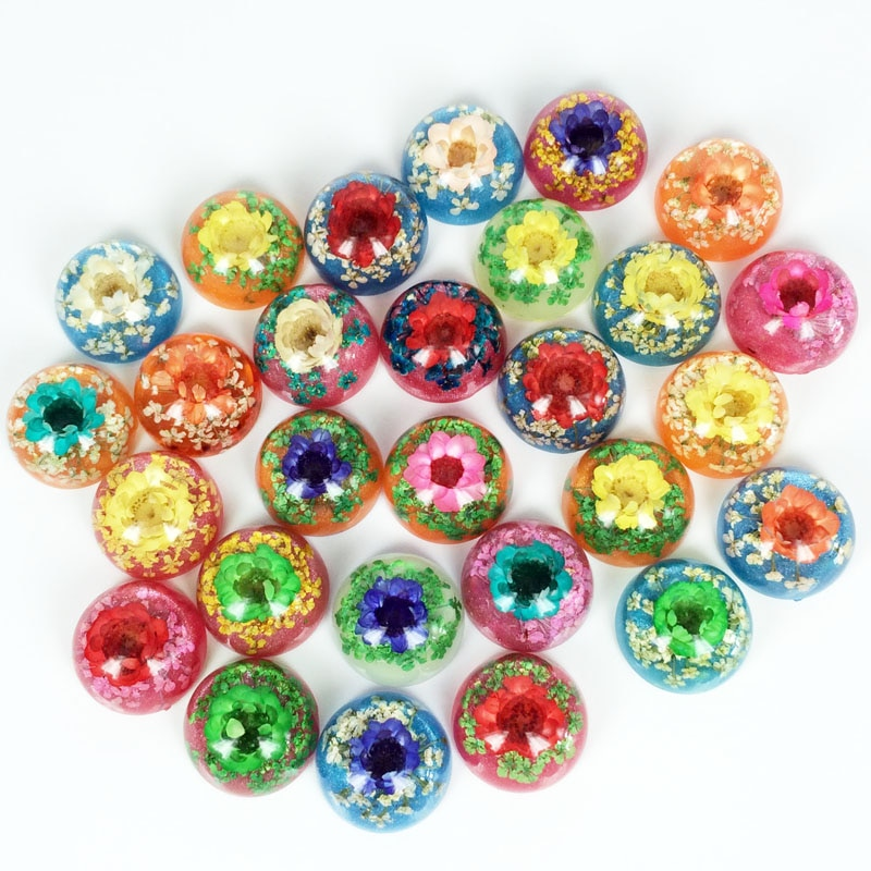4 Uds. 18MM mezcla de Color Natural flores secas parte posterior plana cabujón ámbar Artificial DIY joyería encontrar anillo accesorios de aretes