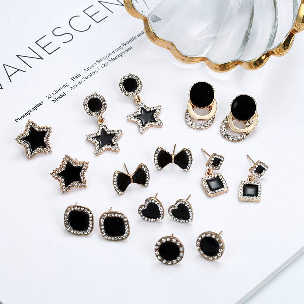 Mini pequeno preto parafuso prisioneiro estrela amor coração geométrico bowknot strass brincos para mulheres estilo coreano moda jóias simples brinco