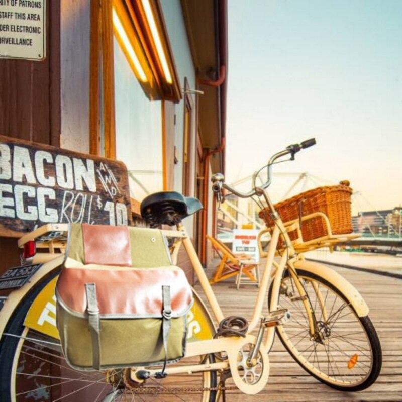 Lona impermeable ciclismo doble lado Rack trasero bolsa resistente al desgaste cola Paquete de asiento carretera de montaña bicicleta maletero bolsas