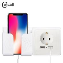 Coswall Dual Usb-poort Wall Charger Adapter Opladen 2A Wall Charger Adapter Eu Plug Socket Stopcontact Panel Geaard Elektrische