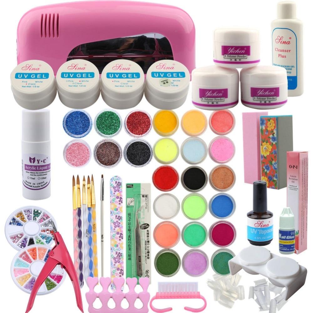 Full Acrylic Nail Kit 9W Dryer Lamp Manicure Set 24Pcs Nail Glitter Powder Semi Permanent Decoration Acrylic Brush Nail Art Tool