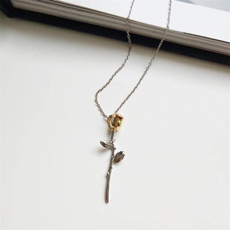 Collar de plata de ley 925 con colgantes con flores de rosas, collar con gargantilla de flores de la rosa del príncipe pequeño para mujeres, Dijes, Joyería de declaración