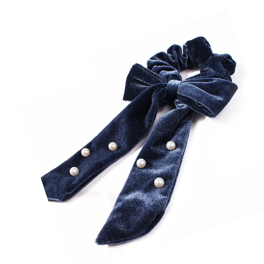 Cintas elásticas de terciopelo con perlas para mujer, bandas elásticas para el pelo para niñas, cintas para el pelo, accesorios para el cabello 2019 VERVAE