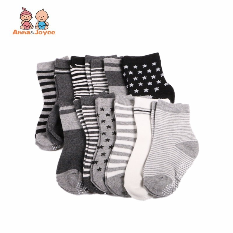 (12 par/lote) calcetines de algodón para bebé, calcetines de goma antideslizantes para suelo, calcetines de dibujos animados para chico pequeño, traje 0-24 meses