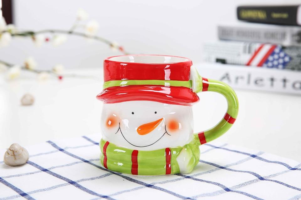 1 PC 380 ML nueva taza de café de cerámica de Navidad 3D Santa Claus creativo de dibujos animados leche taza de desayuno regalo de Navidad NQ 004