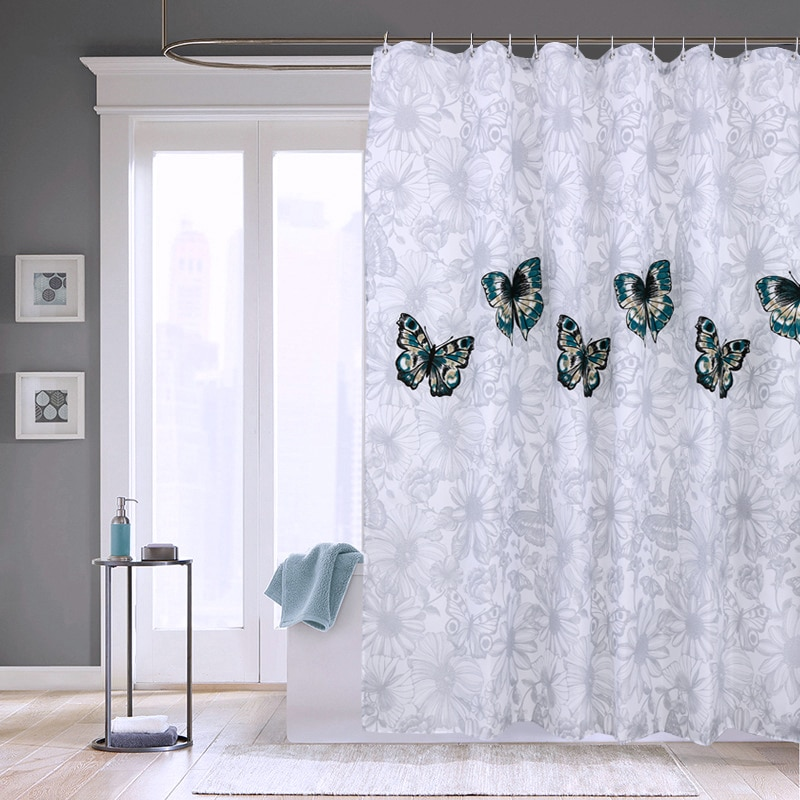 Elegant Butterfly Waterproof Polyester Shower Curtain Thick Washable Bathroom Curtains Mildew Resistant Quality Bath