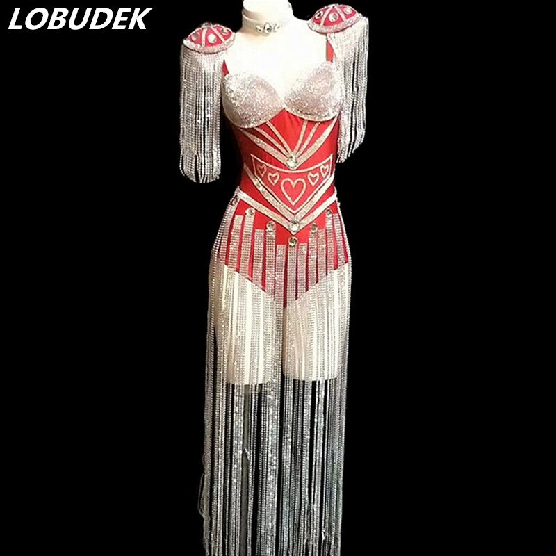 Red White Black Rhinestones Fringes Bodysuit Women Singer Dancer Bar Stage Wear Nightclub Performance Dance Costume Show Leotard