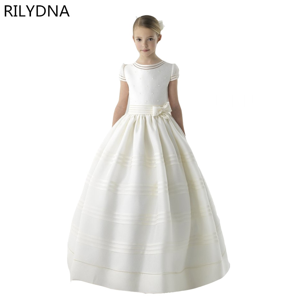 New Arrival Flower Girl Dress 2020 First Communion Dresses For Girls Short Sleeve Belt With Flowers Customized