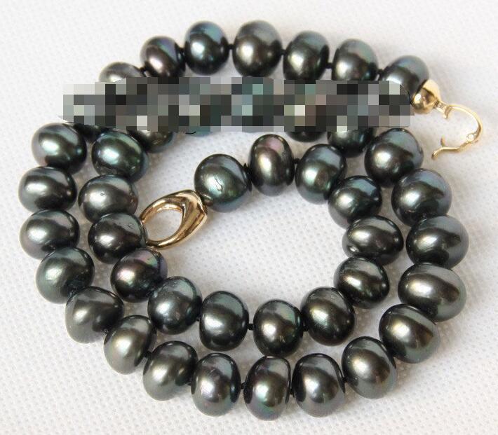 "Natural 17 ""12mm Pavo Real negro FW perlas collar broche amarillo"