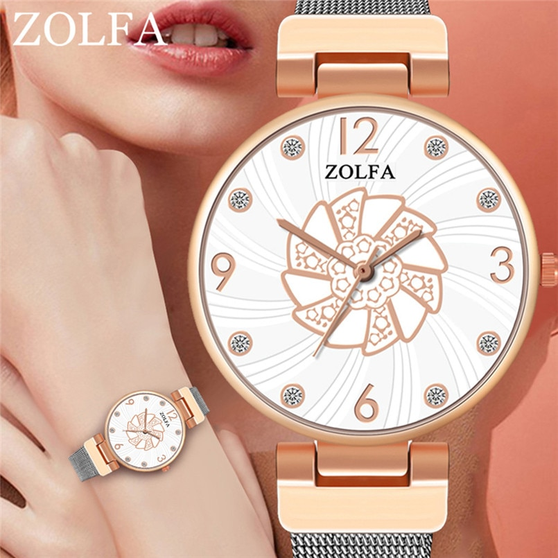 ZOLFA Sleek Minimalist Stainless Steel Mesh Belt Ladies Quartz Watch orologio donna moderna reloj mujer elegante bayan kol saati