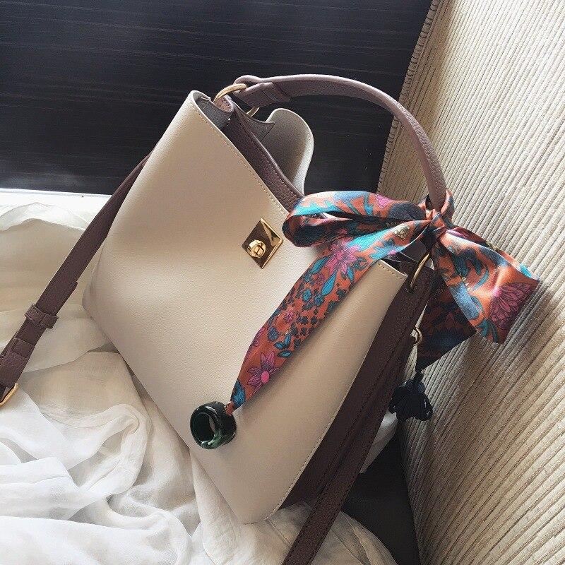 Женская сумка, новинка 2018, ковш, корейская модная простая Портативная сумка-мессенджер на плечо, Сумка с шарфом