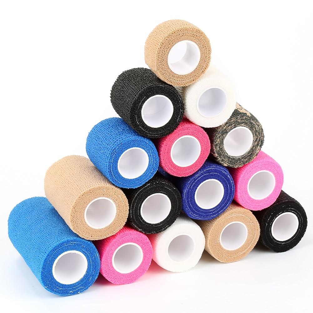 2.5cm*5M Sport Tape Waterproof Self Adhesive Elastic Bandage Muscle Tape Finger Joints Wrap Bandage Non woven Cohesive Bandage