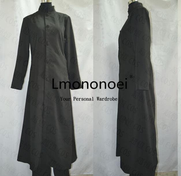 2016 Matrix Neo Wolle Trenchcoat Cosplay Kostüm Schwarze Lange Jacke Halloween Party Outfit