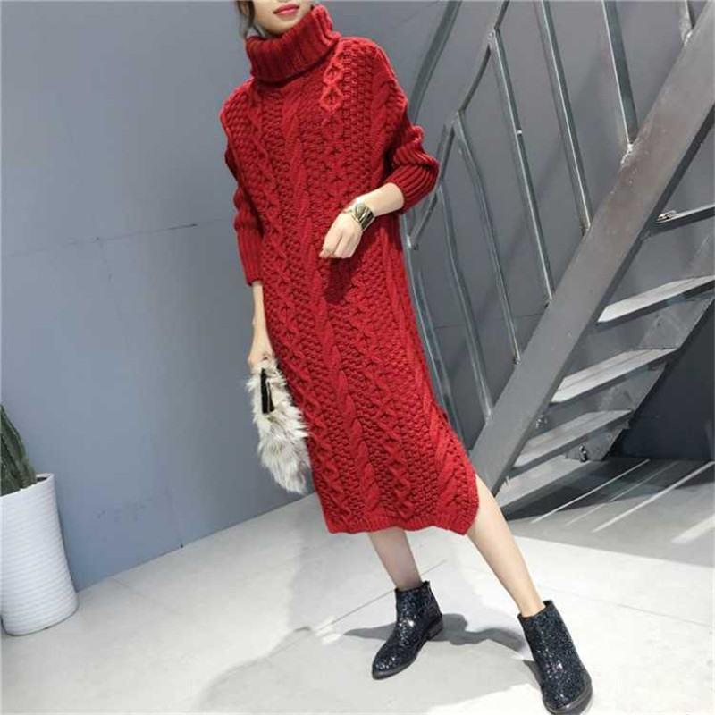 2019 nuevo Otoño Invierno wown Casual sólido suéter Vestidos Mujer cuello alto manga larga Slim Pullover Tops Kintted Vestidos H98