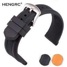 22mm Watchbands Women Men Blue Orange Black Silicon Rubber Watch Band Strap Sport Diving Bracelet Watch Accessories Pin Buckle