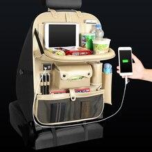 4 USB Charger Telefoon Pad Stoel Opslag Auto Achterbank Zak Klaptafel Organizer Tassen Pocket Box Reizen Opbergen Opruimen