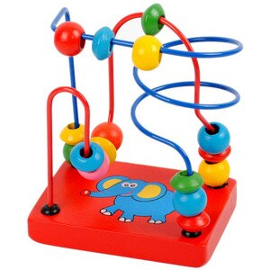 Kid Educational Learning Game Blocks Kids Montessori Wooden Elephant Wire Maze Around Beads Math Toys Baby Toy