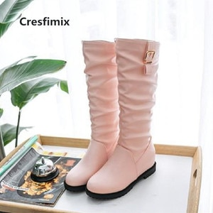 Cresfimix botas femininas women cute high quality comfortable pink pu leather long boots lady cool black boots white boots c3077