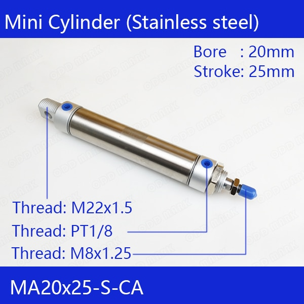 MA20X25-S-CA frete grátis pneumático cilindro de ar inoxidável 20mm diâmetro 25mm curso ma20 * 25 dupla ação mini cilindros redondos