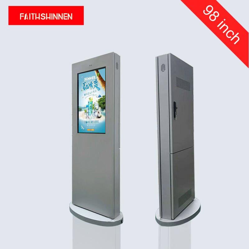Tela de exibição de publicidade exterior ip55 à prova de água de 98 polegadas display digital signage lcd