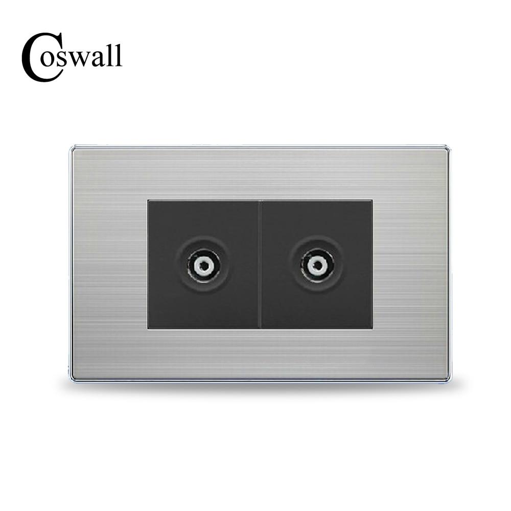 Cosmall, enchufe hembra de doble pared de lujo para TV, enchufe para televisor, Panel de plata cepillada de acero inoxidable de 118mm x 72mm