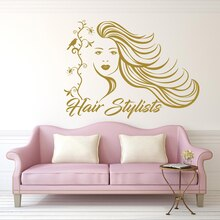 Wall Decals Beauty Salon Vinyl Sticker Decal Woman Makeup Hair Salon Decor Cosmetic Hairdressing Interior Bedroom Window A5-002