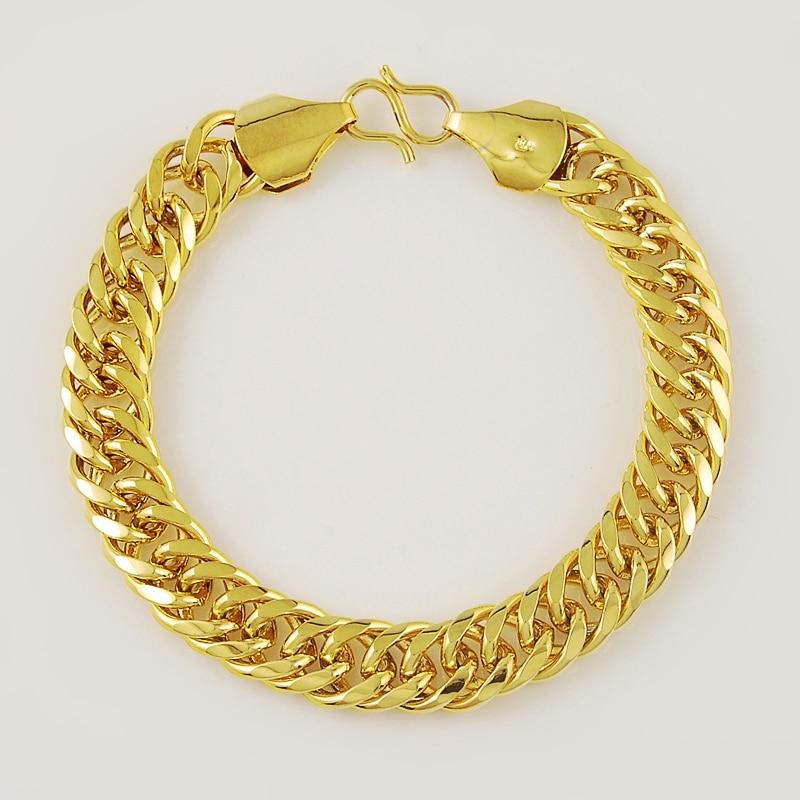 Women's Men's Bracelet 24K Gold Plating Cuban Link Chain Bracelets Yellow Gold Color Fashion Wholesale Jewelry for Men KBB10