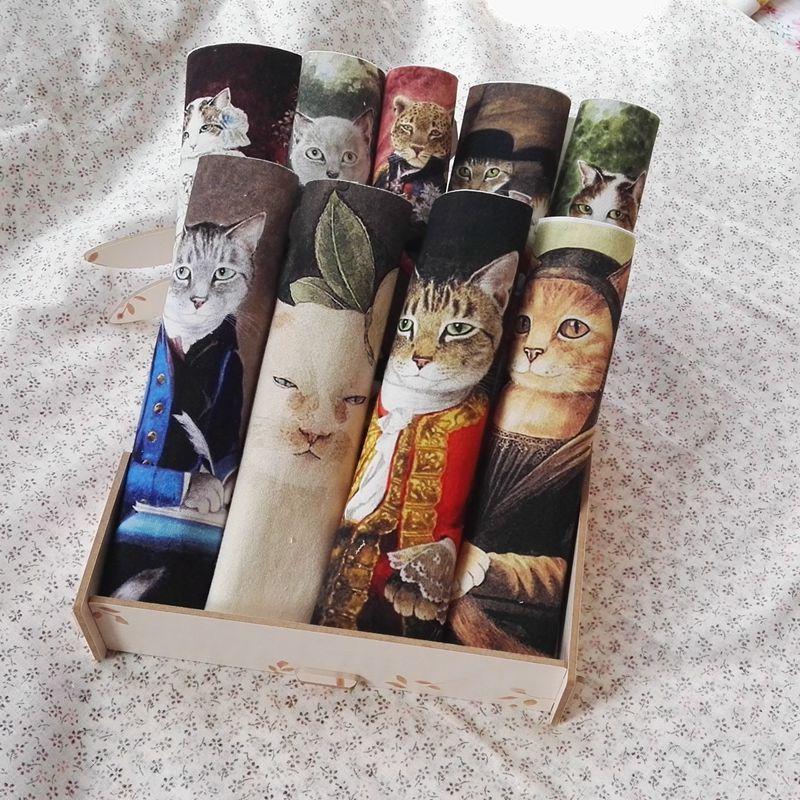 Ручная работа в стиле ретро, тканевая Ткань для шитья кошек среднего возраста, ручная окрашенная живопись, цифровая печать, пэтчворк