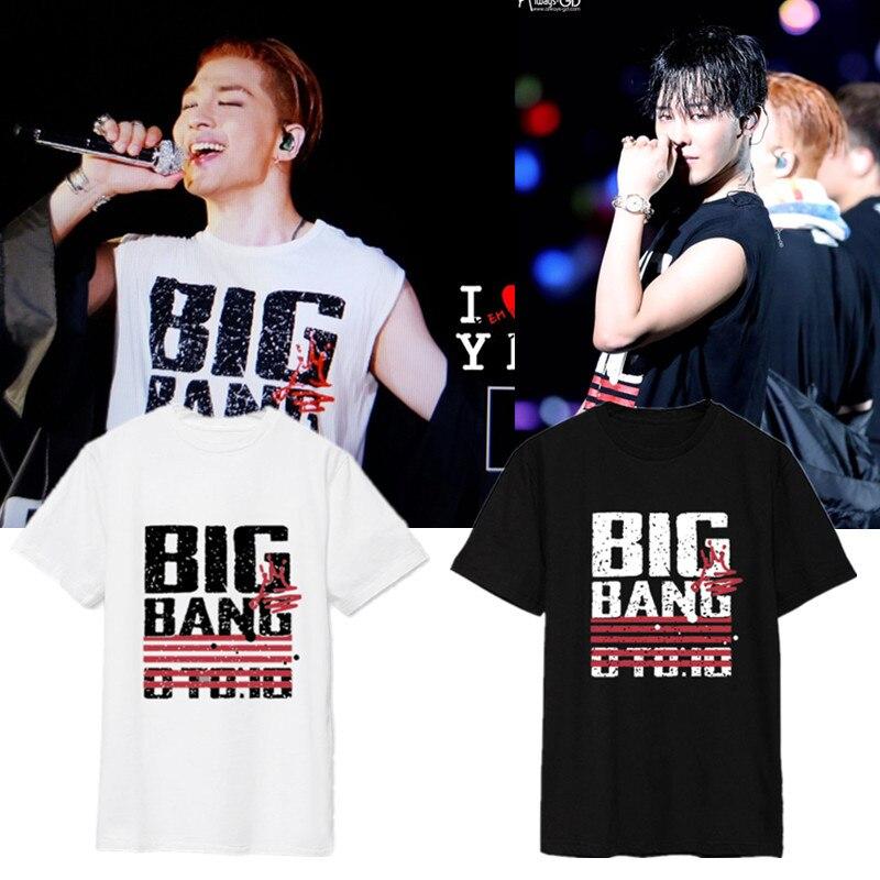 K-pop Store Camiseta Big Bang Camiseta Superior camisetas Camisa o-cuello Flojo de Manga Corta de Big Bang negro Blanco Tops Camiseta