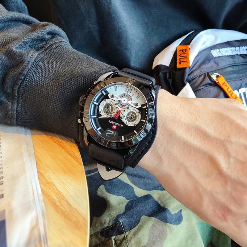 Top Brand NAVIFORCE Mens Black Sports Watches Leather Waterproof Clock Men Analog Quartz Fashion Wrist Watch Relogio Masculino