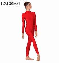 Donne di Tutto il Corpo LZCMsoft Mock Neck Manica Lunga Balletto Tuta Adulto Lycra Spandex Danza Unitards Vestito Mostra Costumi
