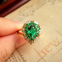 aaa jewelry for women colombia solid 18k yellow gold 2 1ctw moissanite pear green emerald halo ring side marquise wedding ring
