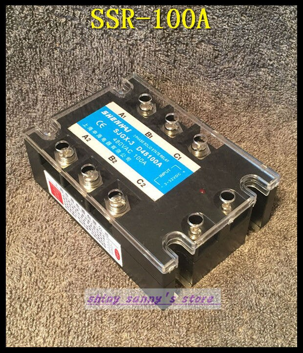 1 peças SSR-100A 100a 480vac trifásico 3 fase dc ac relé de estado sólido novo