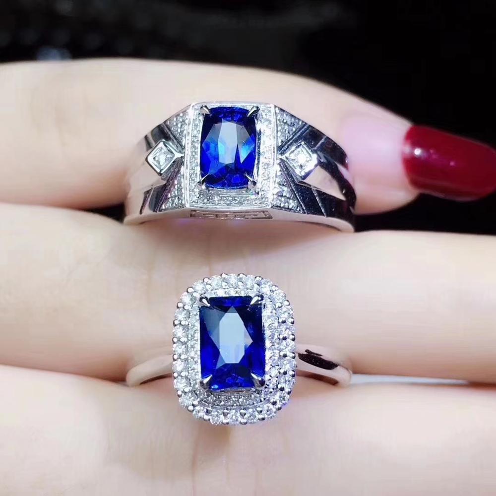 خاتم العشاق الطبيعي الأزرق العميق الياقوت خاتم الأحجار الكريمة 925 الفضة غرامة مجوهرات الطبيعية جوهرة المحيط الأزرق اللون فتاة تاريخ الحاضر