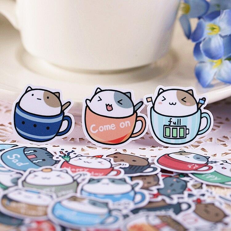 40pcs Creative חמוד עצמי קפה כוס חתול מדבקות רעיונות מדבקות/מדבקה דקורטיבית/DIY קרפט תמונה אלבומי
