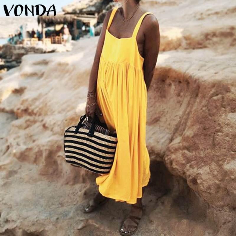 Vestido de verano sin mangas 2020 VONDA mujer bohemio Vestido veraniego largo tirantes finos vestidos de playa Vestido de fiesta Vestido de talla grande