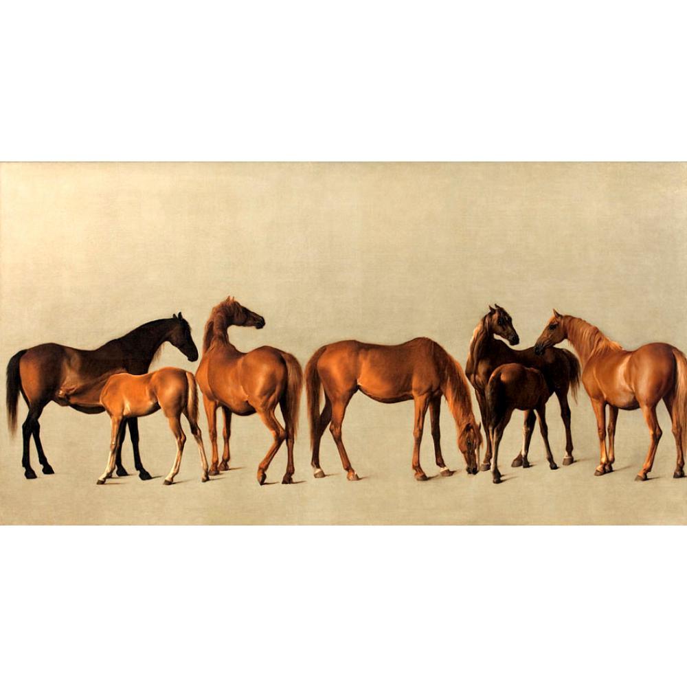 Arte da Lona Pinturas de Animais para Sala de Estudo Éguas e Potros por George Pintura a Óleo Pintados à Mão Grande Stubbs Cavalos