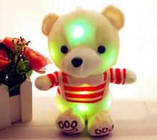Licht Up Bunte Glowing Teddy Bär Luminous Plüsch Spielzeug Gestreiften Paar Zeug Puppen für Kinder Kinder Geburtstag Geschenke
