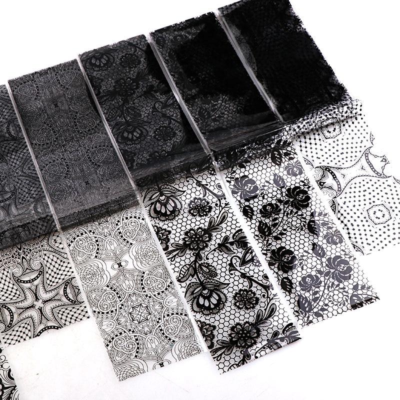 9 шт./пакет 4*120 см Нейл-арт пленка для переноса клея белые и черные наклейки для ногтей кружево модные наклейки для ногтей звездное небо стике...