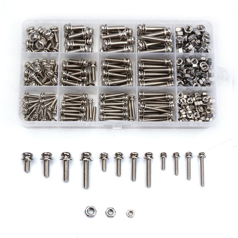ZENHOSIT الفولاذ المقاوم للصدأ مايكرو موضوع جولة رئيس المسمار الجوز الترباس عبر جولة شقة غسالة الربيع كيت M3/M4/M5 360 قطعة/المجموعة مع مربع