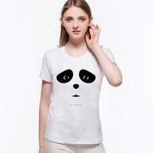 2020 diseño de cara de Panda lindo divertido Animal impreso mujeres marca ropa Casual cuello redondo Sweats algodón Camiseta mujer L6-B4
