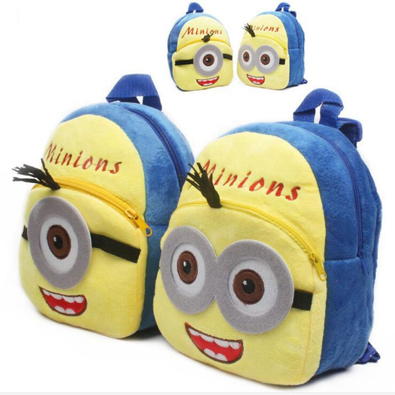 21*23cm esbirros de dibujos animados de peluche de felpa mochilas para niños Mini bolsa de la escuela para niños juguetes Shoolbag regalos de navidad S1181